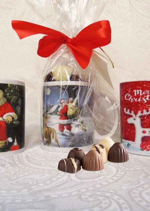 tazze di natale con cioccolatini