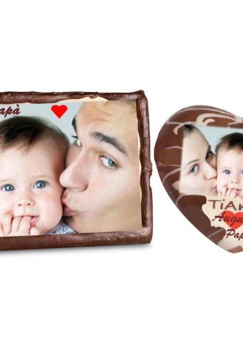 TARGA CUORE personalizzata con la tua FOTO e GUSTO a scelta: oreo, bueno, snikers, bacio, kinder, bisuit nutella ecc.