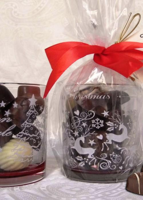 bicchiere di natale con cioccolatini