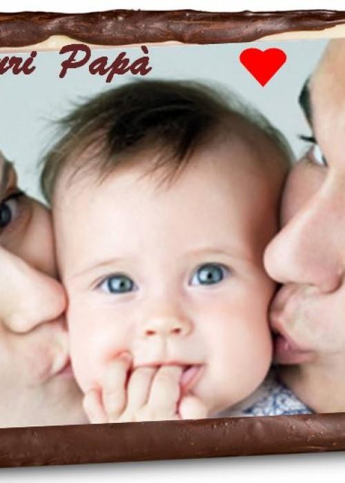 TARGA del PAPA' personalizzata con la tua foto e gusti a scelta: oreo,bueno,snikers,bacio ecc.